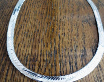 """Vintage Sterling Silver Necklace Herringbone 18"""" Chain Retro 925 Italy"""