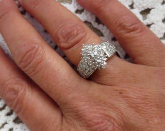 Diamond 10K Gold Ring Colorless Gemstone Vintage Estate Fine Jewelry NOS Engagement Cocktail Cluster April Birthstone Genuine NOS