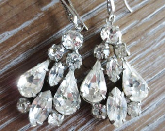 Rhinestone Dangle Earrings Handmade OOAK Reclaimed Vintage Pierced Drop Clear Silver Retro Jewelry