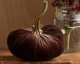 Scented Velvet Pumpkin, RICH DARK BROWN