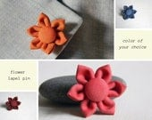 Flower lapel pin - Men lapel pin - Fabric boutonniere - Lapel stick pin - Made in Italy - Cotton buttonhole - Color of your choice. Wedding.