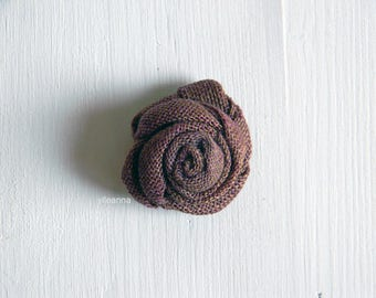 Linen lapel flower. Men lapel pin. Flower stick pin. Rose boutonniere. Men accessories. Violet and green.