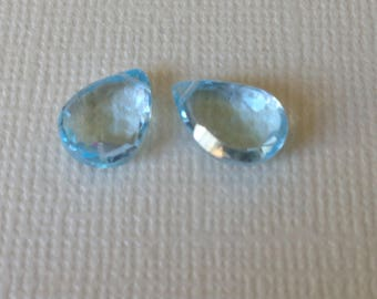 BLUE TOPAZ Pear Briolettes Beads, Luxe AAA, 10-11 mm, Aqua Blue, Sky Blue, december birthstone bridal 1011