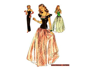Vintage 1940s Evening Dress Pattern Hollywood 1501, Cape, Camisole Top, Full Skirt or Sheath Dress, Drop Waist Gown Pattern