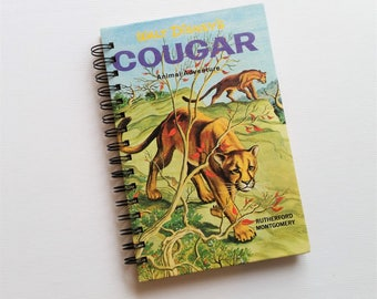 SALE - Cougar, Recycled Book Journal & Notepad