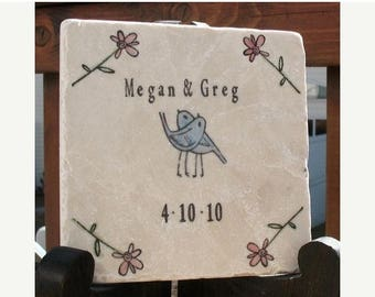 XMASINJULYSale Personalized Tile Trivet - Wedding and Anniversary Gift - Romantic Love Blue Birds Embracing With Flower