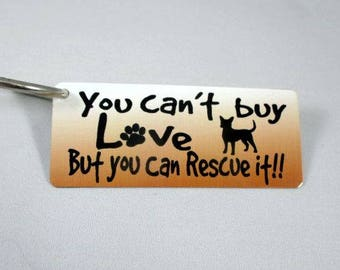CHIHUAHUA DOG KEYCHAIN - Key Fob - Rescue Dog - Purse Decor - Luggage Tag - Adopt a Dog - Ink Fused Aluminum - Furbaby - dog mom