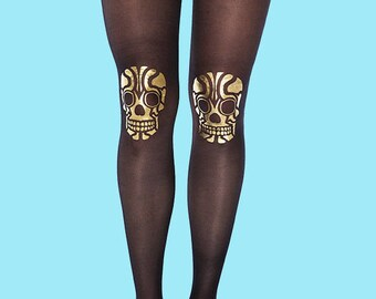 Skull gold print tights, sheer black tights available in S-M, L-XL burning man clothing