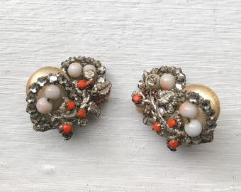 Miriam Haskell 1940s Vintage White Glass and Orange Beaded Faux Pearl Silver Clip On Earrings Jewelry