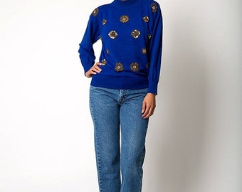40% OFF The Vintage Royal Blue Gold Flower Sweater