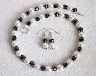 White Pearl and Black Crystal Necklace with Pierced or Clip On Earrings