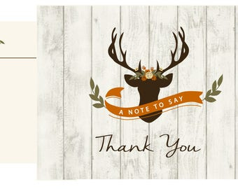 Deer with Floral and wood thank you card // Woodsy thank you