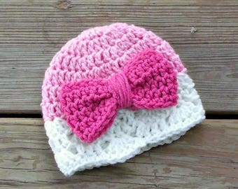 Pink Baby Bow Hat, Baby Hat with Bow, Pink Baby Girl Hat, Crochet Baby Hat, Newborn Baby Girl Hat, Baby Shower Gift