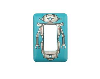 Robot Light Switch Cover - For Modern or Rocker light switch - Switchplate with robot decal sticker