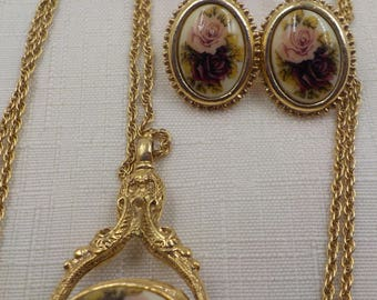 Victorian Style - Vintage Gold Filled Necklace and earring Set - Pink Roses - Pierced earrings - French Wire - Necklace Pendant - Enamel