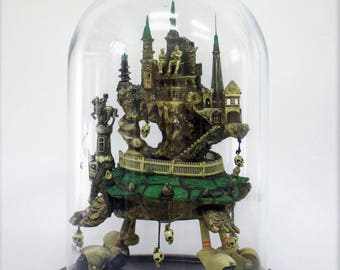 Turtlaneum Imperialis II fantasy, Surrealistic and Gothic Turtle Sculpture on Wheels in a Glass Dome.