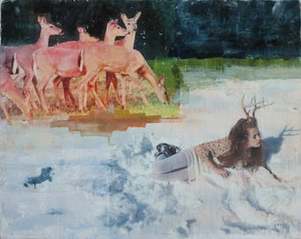 Deer, Antlers, Snow, Portrait, Young Woman, Fine Art, Reproduction, Print, Unique, Photography, Wall Decor, 8 x 10, Nature