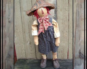 SALE mailed paper pattern Primitive folk art Standing Americana Doll HAFAIR OFG faap 346