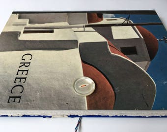 Greece Sketchbook with upcycled cover, maps, pocket, art papers, Greece/Aegean Sea travel journal