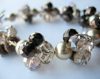 Glass Pearl Bracelet Champagne Brown Clusters Toggle Clasp