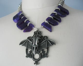 Gothic Bat Necklace, Statement Necklace, Purple, Glass, Rhinestones, Large Pendant, Silver tone, Halloween Accessory, Vampire, One-of-a-kind