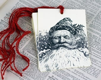 Large Christmas Gift Tag Set of 6 Victorian Santa Image Hang Tags Vintage Style Tags Red Jute Tie