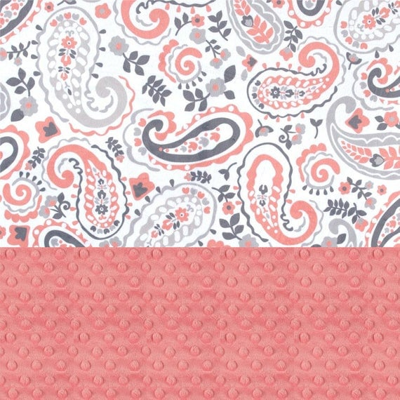 Paisley Girl Lovey, Personalized Baby Blanket Girl, Minky Baby Blanket, Coral Gray Paisley Blanket, Mini Baby Blanket, Security Blanket