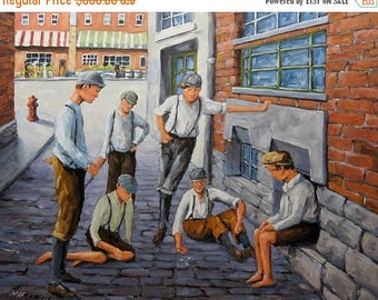 On Sale Boys in New York 1900 - Collectors Edition - Large Urban Oil Painting - Children playing dice - Created by Prankearts