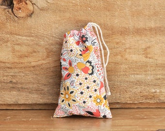 Mini Drawstring Pouch - Reusable Gift Bag - Jewelry Pouch - Gift Card Bag - Orange Black Floral
