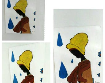 black  girl art,african american art, black child art,afrikkan art,  paintings, yellowblue, teardrops,black girl,teen,hat , Abstract,brown