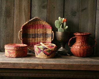 Wicker Baskets Hand Woven Tribal Colorful Bohemian Jungalo Easter Spring Choose From 5 Vintage From Nowvintage on Etsy