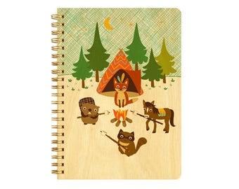 Camping Critters Journal - Birch Wood Journal - Real Wood Notebook - J1822