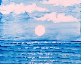 Alcohol Ink Ceramic Tile Painting Blue Ocean Sky and Moon