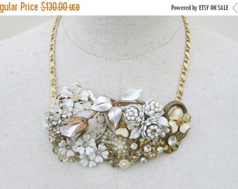 XMAS in JULY SALE White Gold Flower Brooch Collage Necklace