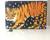 Crazy eyes tiger painting on reclaimed wood