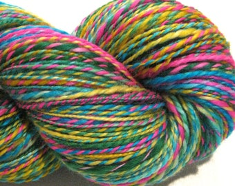 Handspun yarn, The Bold and the Beautiful, 370 yards light worsted weight, 2 ply,  Superwash BFL wool, Nylon, sock yarn, knitting supplies