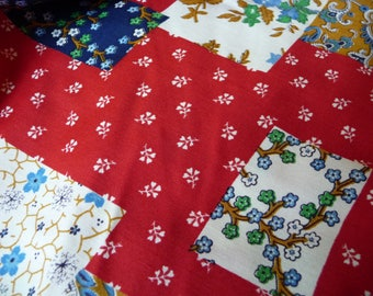 vintage fabric, red fabric, patchwork print, 1 yard, sewing supplies, interesting designs, Schwartz Liebman Textiles, unique fabric, yardage