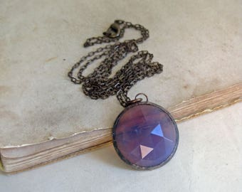 New! Purple Amethyst Glass Necklace, Stained Glass Jewelry