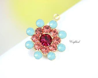 Vintage Style Swarovski Crystal Pendant Charm Set Stones Rhinestone Drops 17mm Pacific Green Opal Peach & Ruby Red - 1