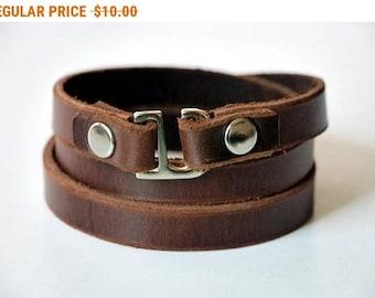 Leather Wrap Bracelet Wrap Bracelet Leather Cuff Bracelet Leather Bracelet in Brown Color Hook Clasp Silver Tone
