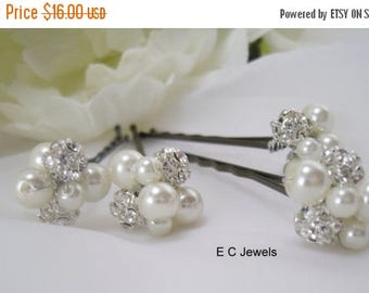 Summer Sale Pearl, Rhinestone Cluster Hairpins - Pick your Color