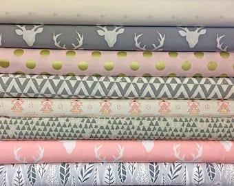 Pink, Grey, Gray, Baby, Girl, Custom, Bundle, Deer, Triangle, Buck, Woodland, Hello, Bear, Urban, Fabrics, Modern, Rustic, Choose, Your, Cut