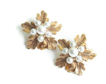 Florenza Faux Pearls Leaf Earrings Gold Tone Clip On As Is