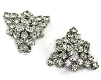 Clear Rhinestone Triangular Shape Clip Earrings Vintage Wedding Bridal Special Occasion