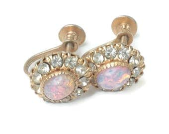 Simulated Opal and Rhinestone Earrings Signed Vargas Gold Tone Screw Back Vintage