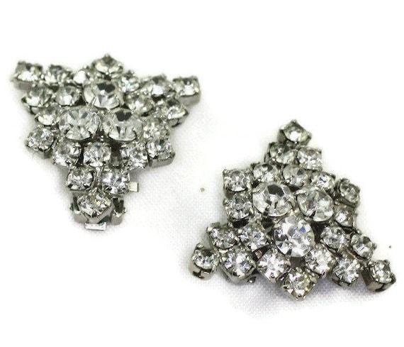Clear Rhinestones Triangular Shape Clip On Earrings Vintage Wedding Bridal Special Occasion