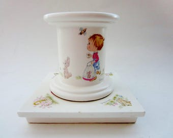 Vintage Betsy Clark Candle-holder -  Betsy Clark Hallmark Pillar Candle Stand 1970s - Collectible Betsy Clark - Nursery Decor