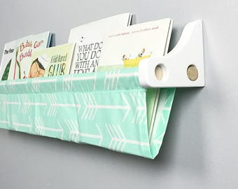 Book Sling and Wooden Brackets- Mint Arrow Wall Organizer - Choose your size