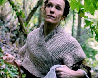 Mary's Shawl Shawlette Outlander, Fichu Style, Hand Knit Merino Wool, 6 Color Options