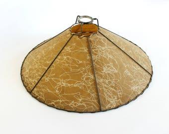 Vintage Fiberglass Lamp Shade Mid Century Spaghetti Lines Cabin Western Mission Decor